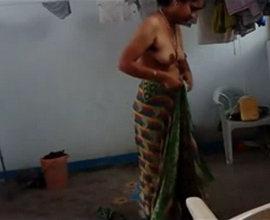 Indian aunty filmed naked after shower